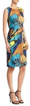 Carolina Herrera Abstract Floral Jacquard Sheath Dress
