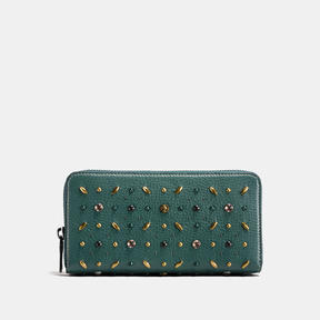 COACH Coach Accordion Zip Wallet In Natural Pebble Leather With Prairie Rivets - BLACK COPPER/DARK TURQUOISE - STYLE