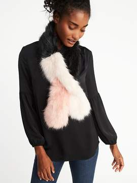 Old Navy Color-Block Faux-Fur Stole for Women