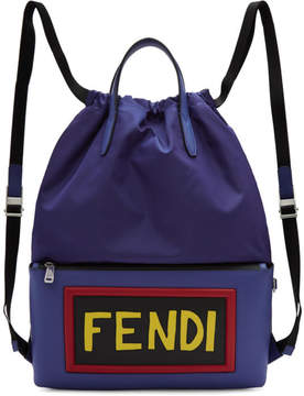 Fendi Blue Nylon Logo Drawstring Backpack