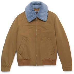 Prada Shearling-Trimmed Shell Flight Jacket