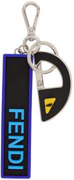 Fendi Black and Blue Bag Bugs Think Keychain