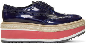 Prada Blue Double Platform Brogues