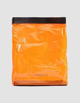 Simon Miller Lunch Bag Vinyl Clutch in Clear Orange