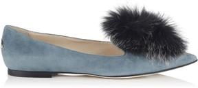Jimmy Choo GALE FLAT Dusk Blue Pointy Toe Flats with Steel Mix Fox Fur