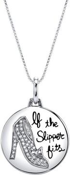 Disney Sterling Silver Cinderella Slipper Pendant Necklace with Diamond Accents