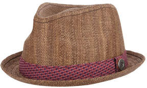 Ben Sherman Men's Straw with Patterned Band Trilby