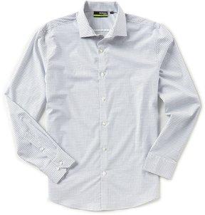 Murano Performance Slim-Fit Spread Collar Grid Long-Sleeve Sportshirt