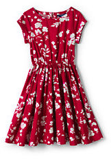 Lands' End Girls Plus Woven Short Sleeve Twirl Dress-Rich Red Floral