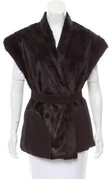 Mantu Belted Fur-Paneled Vest
