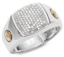 Effy Men's Diamond, 18K Yellow Gold and Sterling Silver Ring
