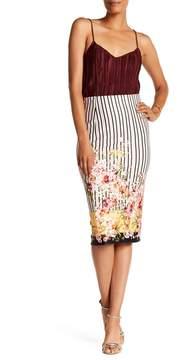ECI Print Pinstripe Floral Skirt
