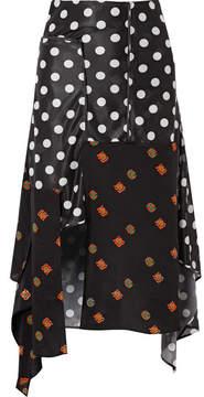 J.W.Anderson Asymmetric Printed Jersey And Silk-crepe Midi Skirt - Black