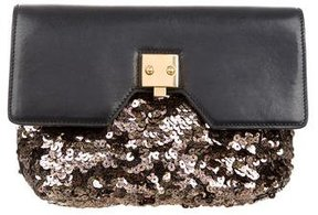 Marc Jacobs Leather & Sequin Clutch - BLACK - STYLE