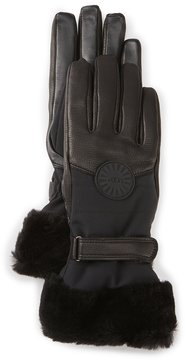 UGG Performance Shearling-Cuff Smart Gloves with Faux-Fur Lining