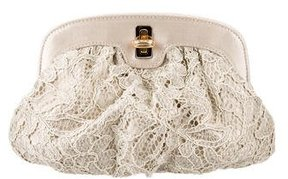 Dolce & Gabbana Lace Frame Clutch - BROWN - STYLE