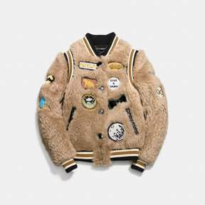 Coach New YorkCoach Shearling Varsity Jacket With Patches