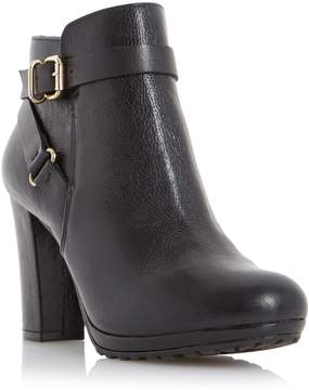 Dune London PUGGY - BLACK Strap And Buckle Detail Leather Ankle Boot
