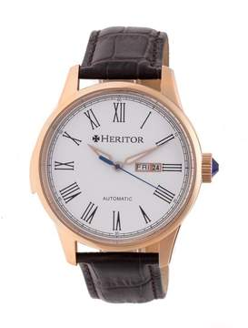 Heritor Prescott White Dial Brown Leather Strap Automatic Men's Watch