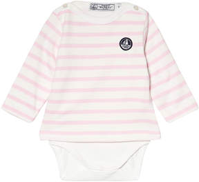 Petit Bateau Pink And White Striped Baby Body