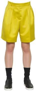 Jil Sander Navy Pleated Techno Duchesse Shorts