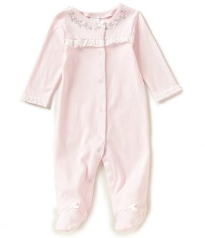 Starting Out Baby Girls Preemie-6 Months Embroidered Long-Sleeve Footed Coverall