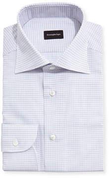 Ermenegildo Zegna Grid-Check Dress Shirt, White/Light Blue/Brown