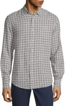 Saks Fifth Avenue BLACK Plaid Long-Sleeve Button-Down Shirt