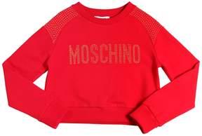 Moschino Studded Cropped Cotton Sweatshirt