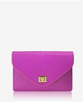 GiGi New York | Georgia Clutch In Orchid Embossed Python | Orchid embossed python