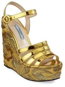 Prada Leather Platform Wedge Sandals