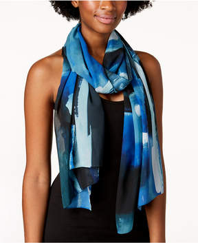 Calvin Klein Abstract Painterly Chiffon Scarf & Cover-Up