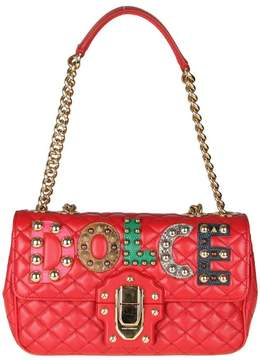 Dolce & Gabbana Leather Shoulder Bag With Leather And With Logo - RED - STYLE
