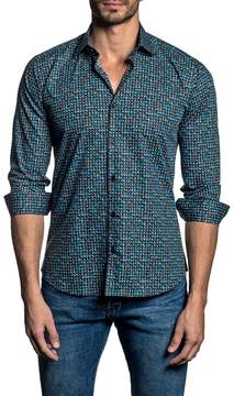 Jared Lang Long Sleeve Patterned Trim Fit Woven Shirt