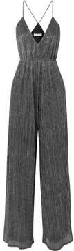 Halston Plissé Metallic Knitted Jumpsuit - Silver