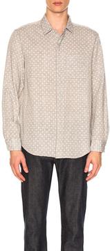 Engineered Garments Double Gauze Short Collar Shirt in Gray,Geometric Print.