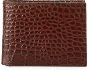 Neiman Marcus Crocodile-Embossed Slim Wallet, Brown