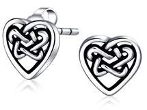 Celtic Bling Jewelry Sweetheart Knot Open Heart Stud Earrings 925 Sterling Silver 10mm.