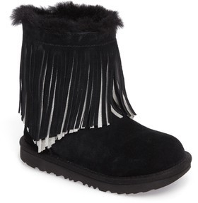 UGG Girl's Classic Ii Short Fringe Water Resistant Genuine Shearling Boot