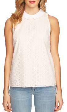 CeCe Sleeveless Cotton Eyelet Collared Blouse