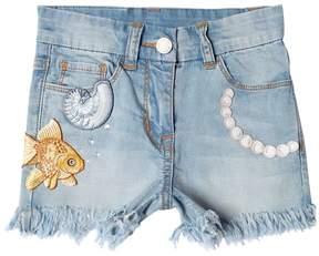 MonnaLisa Light Stretch Denim Shorts W/ Patches
