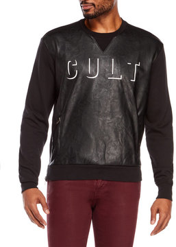 Cult of Individuality Faux Leather Crew Neck Sweatshirt