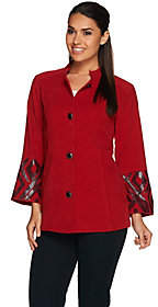 Bob Mackie Bob Mackie's Button Front Moleskin Jacket withSequin Cuff