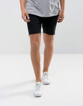 MANGO Man Raw Hem Denim Shorts In Black