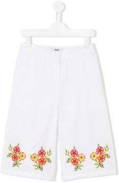 MSGM embroidered flower trousers