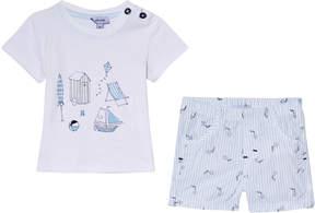 Absorba White Beachside Print T-Shirt and Stripe Kite Shorts Set