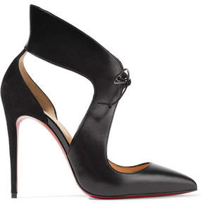 Christian Louboutin Ferme Rouge 100 Cutout Leather And Suede Pumps - Black