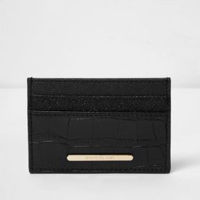 River Island Womens Black croc embossed glitter card holder
