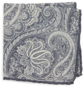 Eleventy Men's Paisley Wool Pocket Square