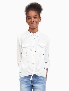 Calvin Klein Jeans Girls Allover Print Tie-Front Shirt
